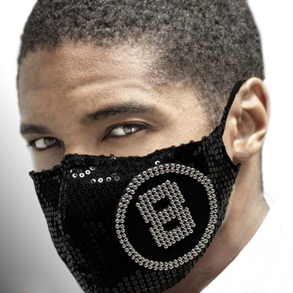 FM-35-* Ball ( 1pc Superior Quality Designer Face Mask Embellished With Black Sequins And Silver 8 Ball Design )