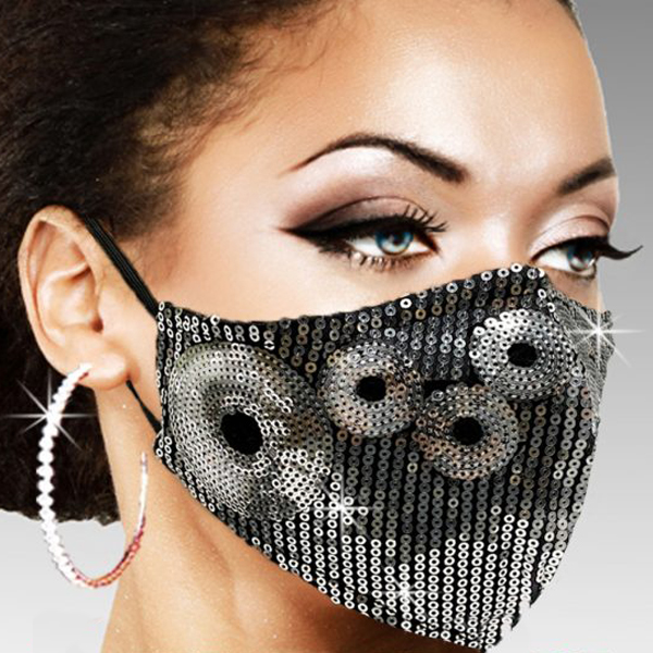 FM-38-Venus-SIL ( 1pc Superior Quality Designer Face Mask With Sparkling Silver Orbs In A Sea Of Sequins )