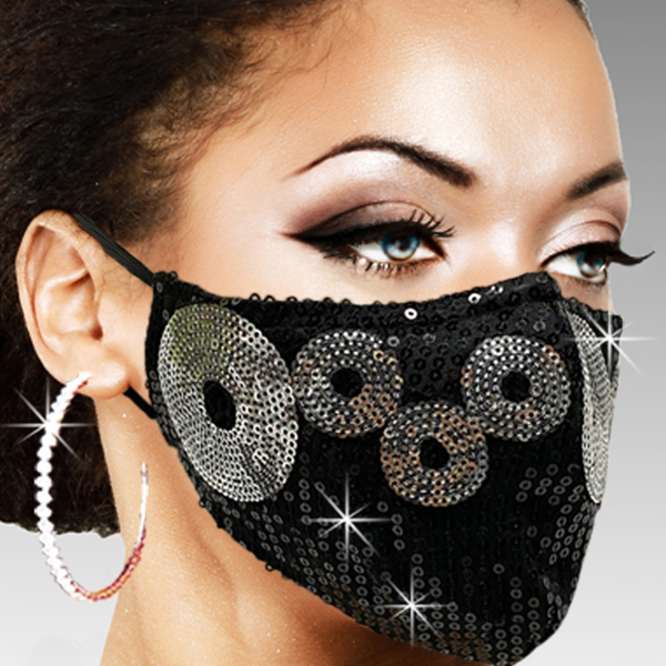 FM-38-Venus-BLK ( 1pc Superior Quality Designer Face Mask With Sparkling Silver Orbs In A Sea Of Sequins )