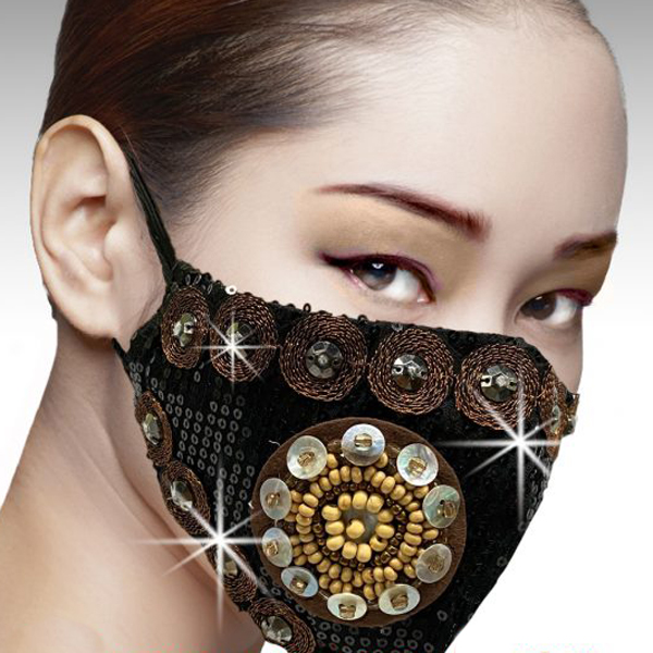 FM-39-Samurai-BLK ( 1pc Superior Quality Designer Face Mask With Hammered Sequins, Metallic Embroidery And Mother Of Pearl Trim  )