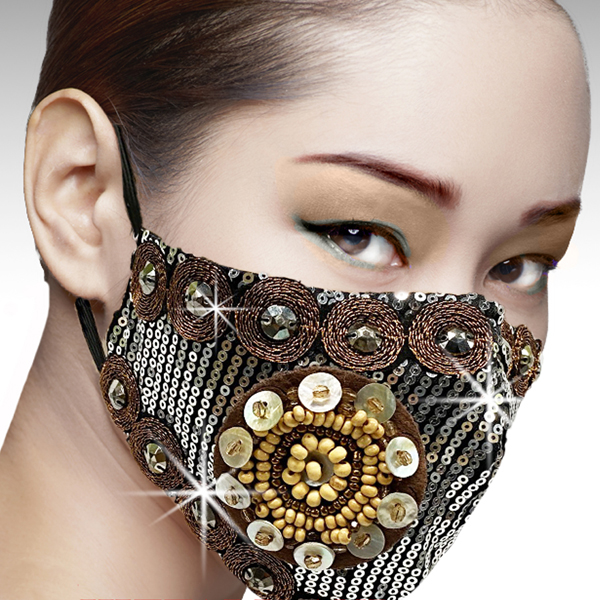 FM-39-Samurai-GM ( 1pc Superior Quality Designer Face Mask With Hammered Sequins, Metallic Embroidery And Mother Of Pearl Trim  )