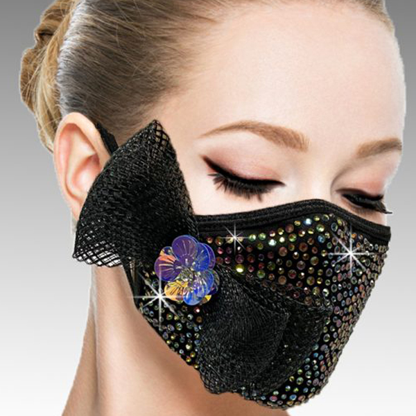FM-40-Botticelli-BLMU ( 1pc Superior Quality Designer Face Mask With A Delicate Mesh Bow On Crystals And Hand Beaded Florette )