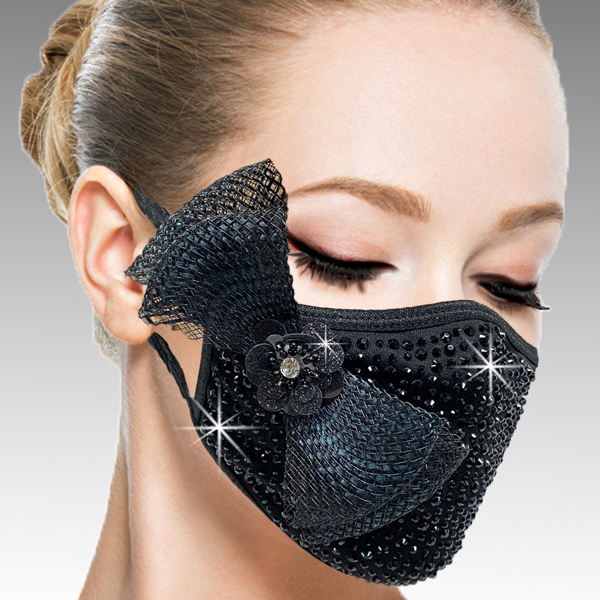 FM-40-Botticelli-BLK ( 1pc Superior Quality Designer Face Mask With A Delicate Mesh Bow On Crystals And Hand Beaded Florette )