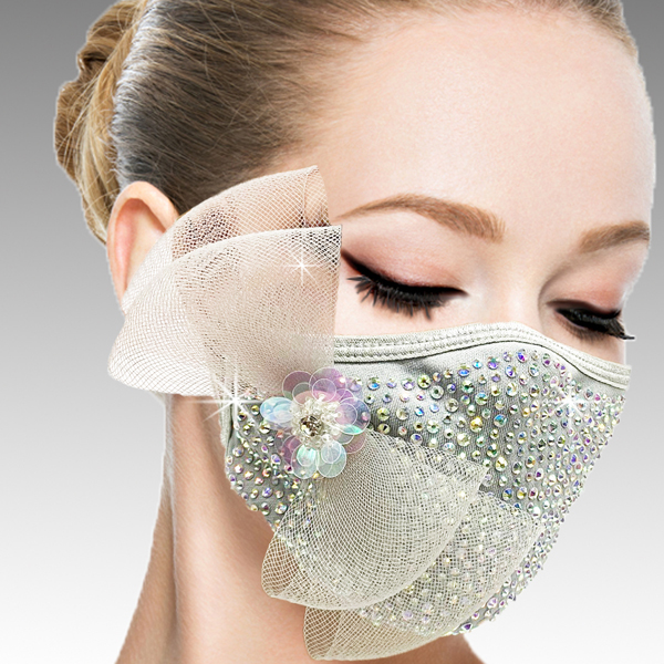 FM-40-Botticelli-SIL ( 1pc Superior Quality Designer Face Mask With A Delicate Mesh Bow On Crystals And Hand Beaded Florette )
