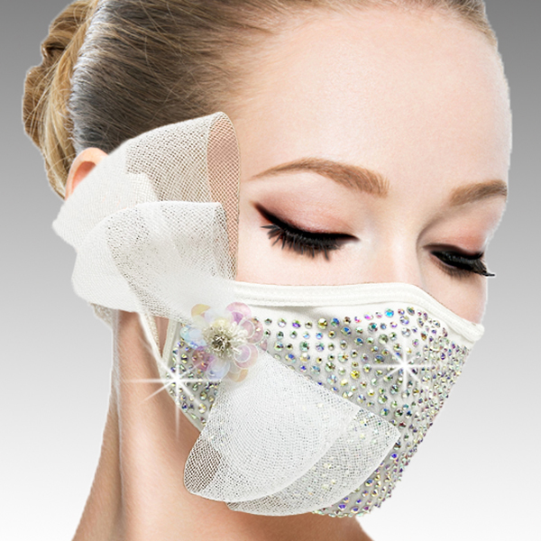 FM-40-Botticelli-W ( 1pc Superior Quality Designer Face Mask With A Delicate Mesh Bow On Crystals And Hand Beaded Florette )