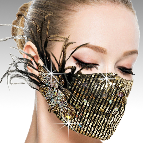 FM-42-Ou La La-G ( 1pc Superior Quality Designer Face Mask With Hand Applied Crystals And Flower )