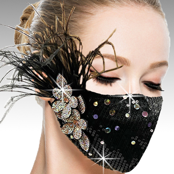 FM-42-Ou La La-BLS ( 1pc Superior Quality Designer Face Mask With Hand Applied Crystals And Flower )