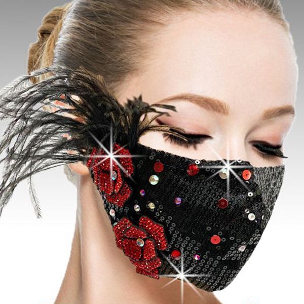 FM-42-Ou La La-BLR ( 1pc Superior Quality Designer Face Mask With Hand Applied Crystals And Flower )