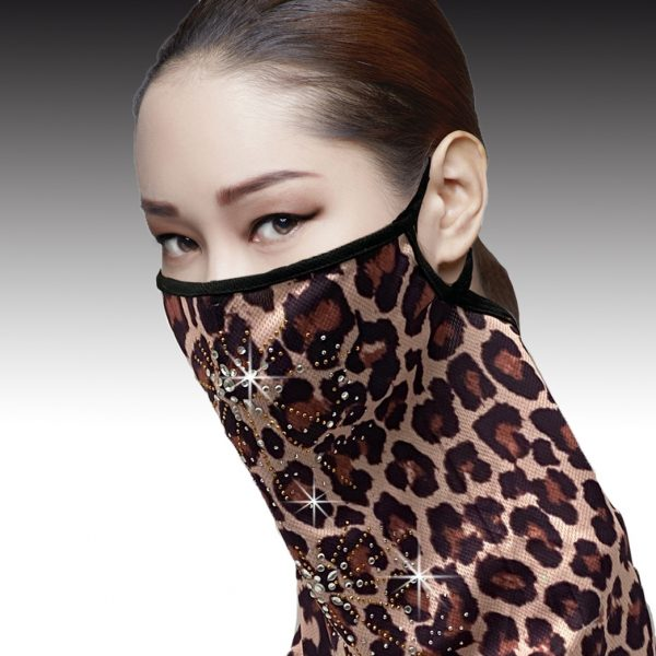 FM-06-Urban Cheetah ( 1pc Superior Quality Designer Face Mask With Radial Crystal Patterns, With Adjustable Ear Loops )