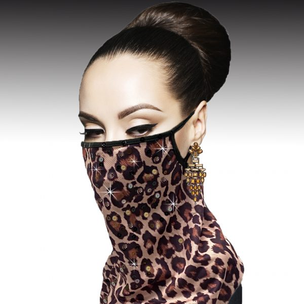 FM-07-Animal Cowl ( 1pc Superior Quality Designer Face Mask With Sequins Adorned Animal Print Pattern, With Adjustable Ear Loops )