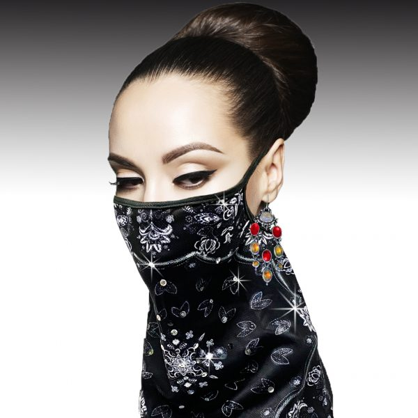 FM-08-Bandita ( 1pc Superior Quality Designer Face Mask With Hand Applied Sequins Design, With Adjustable Ear Loops )