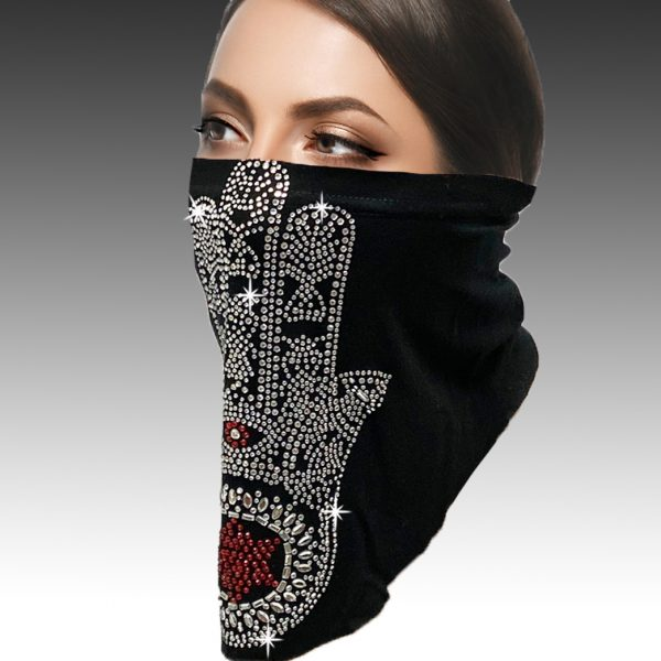 FM-10-Fatima ( 1pc Superior Quality Designer Mask Adorned With The Crystal Hand Of Fatima, With Adjustable Ear Loops )