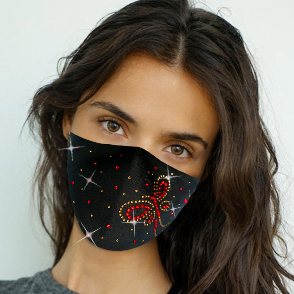 FM-109-Flutter ( 1pc Designer Face Mask With Beautiful Stone Butterfly Design And Adjustable Earl Loops )