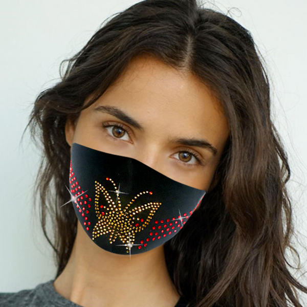 FM-108-Flight ( 1pc Designer Face Mask With Beautiful Stone Butterfly Design And Adjustable Earl Loops )