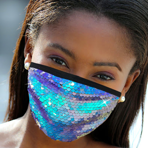 FM-111-Cascade-IR ( 1pc Designer Face Mask With Shimmering Sequins Design )
