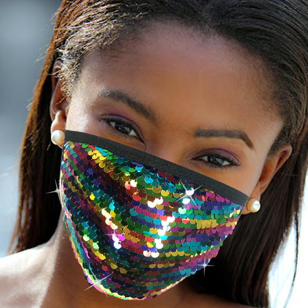 FM-111-Cascade-RM ( 1pc Designer Face Mask With Shimmering Sequins Design )