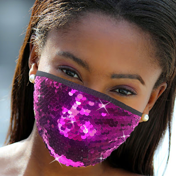 FM-111-Cascade-PU ( 1pc Designer Face Mask With Shimmering Sequins Design )