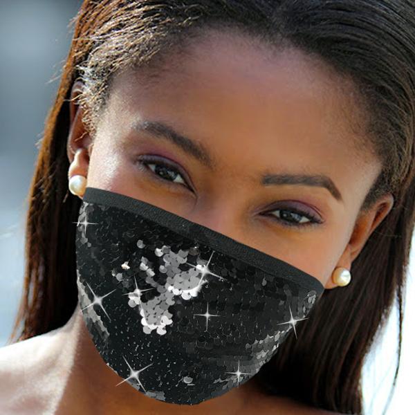 FM-111-Cascade-BLK ( 1pc Designer Face Mask With Shimmering Sequins Design )
