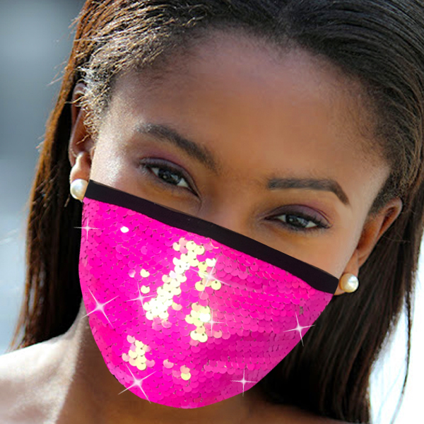 FM-111-Cascade-PI ( 1pc Designer Face Mask With Shimmering Sequins Design )