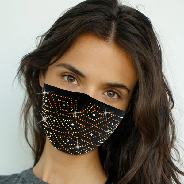 FM-106-Art Deco ( 1pc Designer Face Mask With Geometric Stone Design And Adjustable Earl Loops )