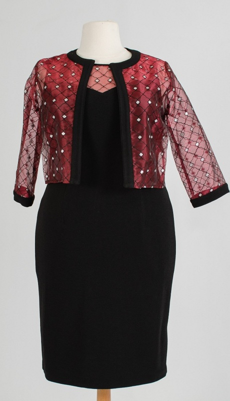 Maya Brooke 26366x ( 2pc Jacket Dress With Mettalic Lace )