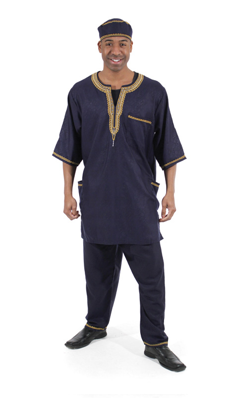 Heritage C-MO51-DB ( 2pc Mens Luxury Pant Set With Kufi Hat )