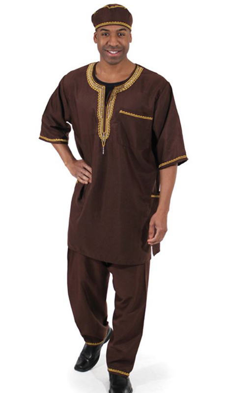 Heritage C-MO51-BR ( 2pc Mens Luxury Pant Set With Kufi Hat )