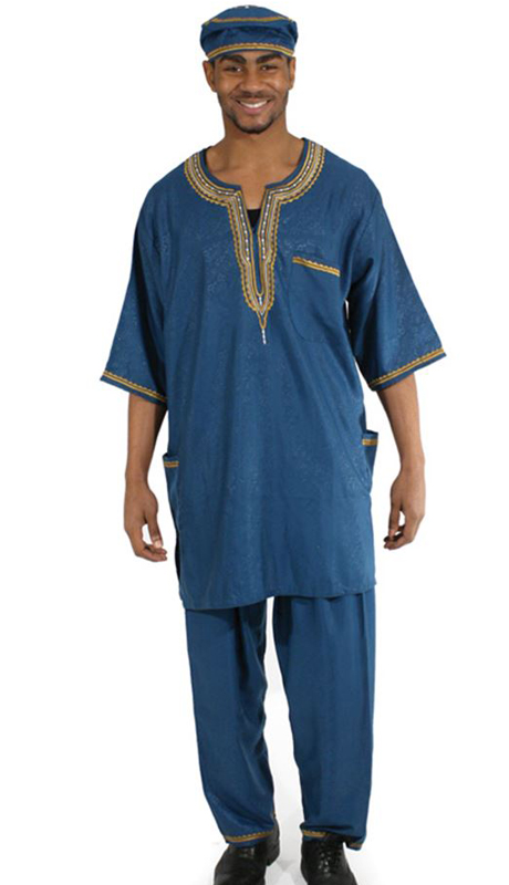 Heritage C-MO51-BL ( 2pc Mens Luxury Pant Set With Kufi Hat )