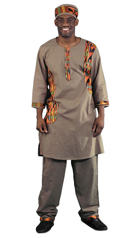 Heritage C-MO93-BR ( 2pc Kente Accent Pant Set With Kufi Hat )