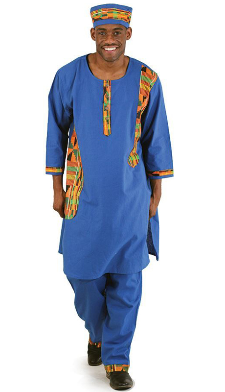 Heritage C-MO93-BL ( 2pc Kente Accent Pant Set With Kufi Hat )