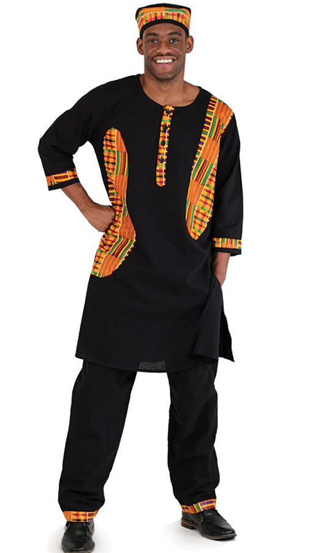 Heritage C-MO93-BK ( 2pc Kente Accent Pant Set With Kufi Hat )