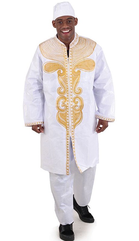 Heritage C-M084-WG ( 2pc Brocade Zipper Dashiki Pant Set With Kufi Hat )