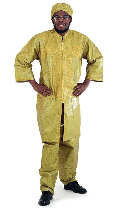 Heritage C-M084-PG ( 2pc Brocade Zipper Dashiki Pant Set With Kufi Hat )