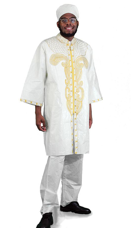Heritage C-M084-NG ( 2pc Brocade Zipper Dashiki Pant Set With Kufi Hat )