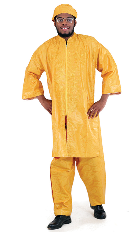 Heritage C-M084-MU ( 2pc Brocade Zipper Dashiki Pant Set With Kufi Hat )