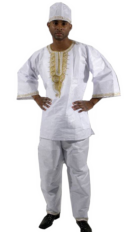 Heritage C-M450-WH ( Gold Emboidered Brocade Pant Set With Matching Hat )