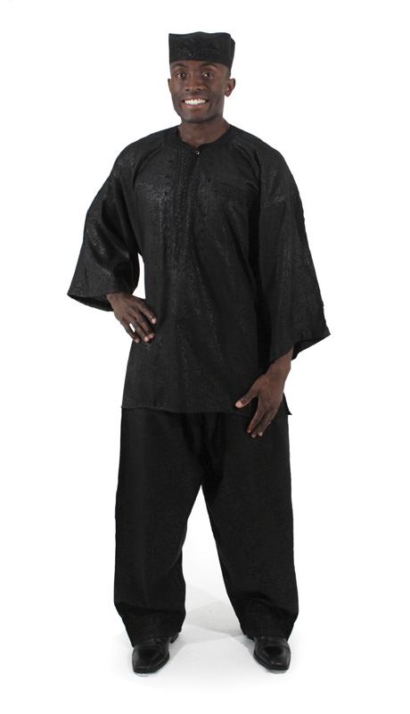 Heritage C-MO69-BK ( 2pc Mens Luxury Pant Set With Kufi Hat )