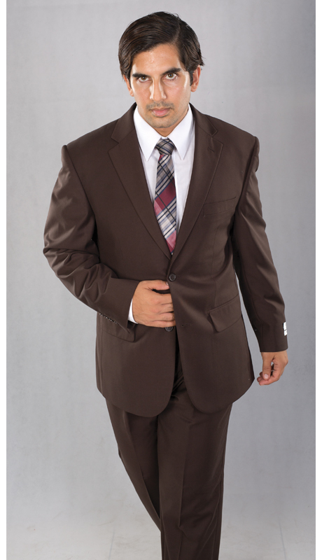 A62W-BR ( 2pc Two Button Jacket With Notch Lapels And Double Vents, Single Pleated Pants, Vittorio St.Angelo Mens Suit )
