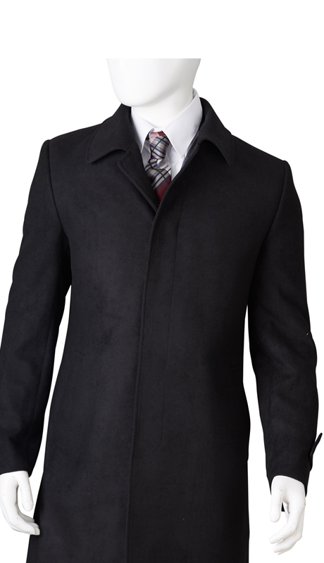 COAT61-BLK-1015 ( Classic Fit Coat Single Breasted Hidden Buttons Under Placket Center Vent Super 100, Vittorio St.Angelo Mens Suit )
