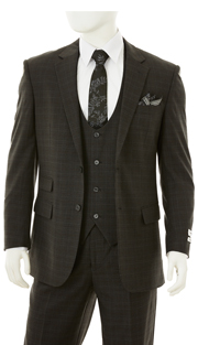 F62HT-BLK ( 3-Piece Classic Fit Suit 2-Button, Single-Breasted Jacket With Side-Vents 4 Button Collar-Less Vest Single Pleated Pants, Vittorio St.Angelo Mens Suit )