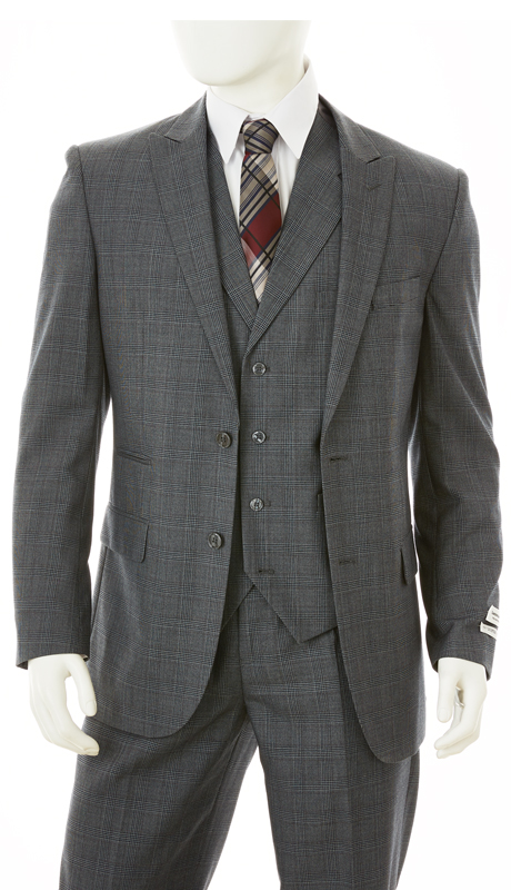 F62CP-GR ( 3-Piece Classic Fit Suit 2-Button, Single-Breasted Jacket With Side-Vents 4 Button Vest Single Pleated Pants, Vittorio St.Angelo Mens Suit )