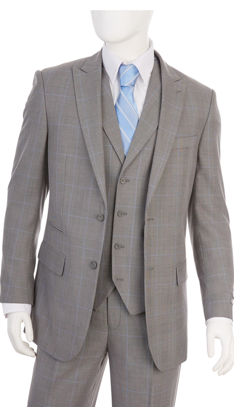 F62SP-GR ( 3-Piece Classic Fit Suit 2-Button, Single-Breasted Jacket With Side-Vents 4 Button Vest With Notch Lapels Single Pleated Pants, Vittorio St.Angelo Mens Suit )