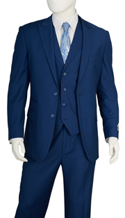 F62SD-BLU ( 3-Piece Classic Fit Suit 2-Button, Single-Breasted Jacket With Side-Vents 4 Button Vest With Notch Lapels Single Pleated Pants, Vittorio St.Angelo Mens Suit )