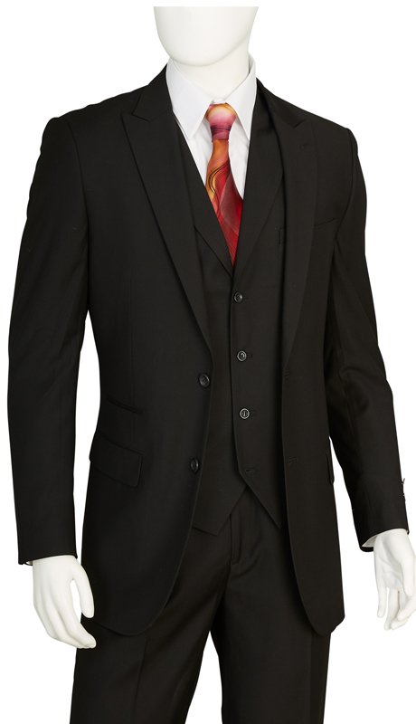 F62SD-BLK ( 3-Piece Classic Fit Suit 2-Button, Single-Breasted Jacket With Side-Vents 4 Button Vest With Notch Lapels Single Pleated Pants, Vittorio St.Angelo Mens Suit )