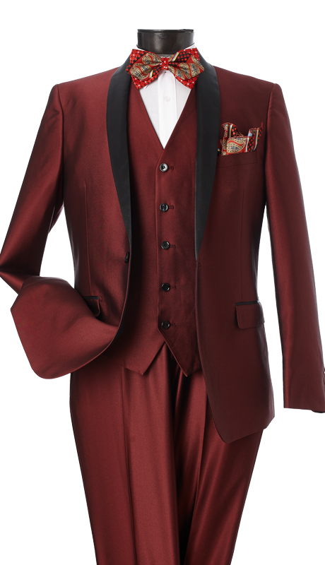 S6501V-BUR ( 3-Piece Evening Suit Single Button, Single-Breasted, Center-Vent Jacket With Shawl Lapels 5 Button Vest Flat Front Pants Luxurious Sharkskin, Vittorio St.Angelo Mens Suit  )