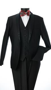 S6501V-BLK ( 3-Piece Evening Suit Single Button, Single-Breasted, Center-Vent Jacket With Shawl Lapels 5 Button Vest Flat Front Pants Luxurious Sharkskin, Vittorio St.Angelo Mens Suit )