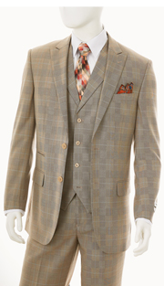 F62SP-TAU ( 3-Piece Classic Fit Suit 2-Button, Single-Breasted Jacket With Side-Vents 4 Button Vest With Notch Lapels Single Pleated Pants, Vittorio St.Angelo Mens Suit )