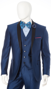 S6501V-BLU ( 3-Piece Evening Suit Single Button, Single-Breasted, Center-Vent Jacket With Shawl Lapels 5 Button Vest Flat Front Pants Luxurious Sharkskin, Vittorio St.Angelo Mens Suit )