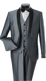 S6501V-GRA ( 3pc Evening Suit, Single Button, Single-Breasted, Center-Vent Jacket With Shawl Lapels, 5 Button Vest, Flat Front Pants, Luxurious Sharkskin, Vittorio St.Angelo Mens Suit )