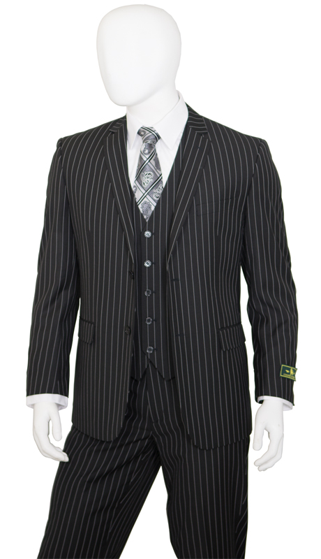T62RS-BLK ( 2pc Classic Fit Suit, 2 Button Jacket, Single Breasted, Double-Vents, Notch Lapels, 5 Button Vest, Flat Front Pants, Premium, Pin-Stripes, Vittorio St.Angelo Mens Suit )